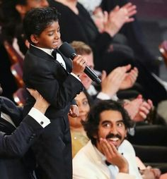 And as everyone's eyes were focused on Sunny, his BFF was also transfixed by the undeniable cuteness that just seems to exude from this little fella. | Dev Patel's Reaction To Sunny Pawar At The Oscars Is The Most Pure Thing You'll Ever See
