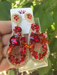 Excited to share this item from my shop: Red Crystal Red Chandelier Earrings Ruby Red Dangle Earrings Red Rhinestone Earrings Pierced Post Red Jewel Drop Earrings Long Red Rhinestone, Rhinestone Earrings, Bridal Earrings, Crystal Earrings, Statement Earrings, Bridal Jewelry, Dangle Earrings, Red Chandelier, Chandelier Earrings
