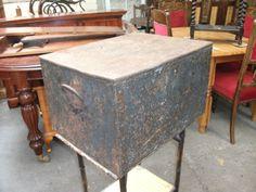 Antique-peint-metal-acte-boite-de-conservation-coffre-hobby-craft-coffre-vintage-ancien