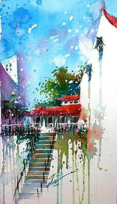 """Back alley at Ann Siang Rd, Singapore""  Watercolour 2014  14x25cm…"
