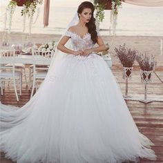 8c3a4a44f44 Back Lace Up Off Shoulder Ball Gown Wedding Dress with Short Sleeves 2016  New Arrival Bridal Gown with Lace Said Mhamad Noiva-in Wedding Dresses from  ...
