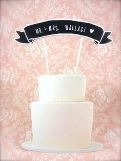 Cake Topper Banner with Calligraphy - Wedding Cake Topper - Birthday Cake- Baby Shower Cake - Custom Colors