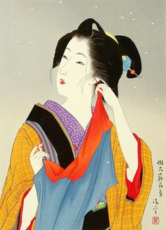 Kaburagi Kiyokata (1878-1972) 鏑木清方 Light Snow 薄雪、ca. 1925-1935 Manners and Customs of Beauties in 1882 明治十五年代美人風景