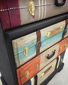 50 Beautiful Furniture Makeover Ideas Using Paint - Art Modern Funky Furniture, Refurbished Furniture, Paint Furniture, Repurposed Furniture, Unique Furniture, Furniture Makeover, Steampunk Furniture, Do It Yourself Furniture, Vintage Suitcases