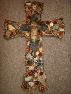 Decorated Wooden Cross Old Rugged Design Home by CraftsbyDebbieLea, $65.00