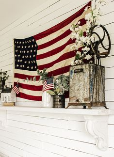 Sharing My Simple Home Decor for the of July and Summer Months. Budget-friendly, patriotic home decor. Vintage Home Decor. of July. Fourth Of July Decor, 4th Of July Party, July 4th, Vintage Flag, Vintage Tins, Small Flags, Little Red Wagon, Patriotic Decorations, Patriotic Bunting