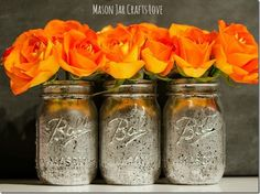 How to spray paint jars - How to spray paint mason jars. Tips on how to create gold metallic mason jar vases. Gold vases from mason jars.