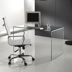 I love this – Glass Office Desk Glass Office, Glass Desk, Glass Table, Modern Kids Desks, Desks For Small Spaces, Modern White Desk, White Desks, White Desk Bedroom, The Office