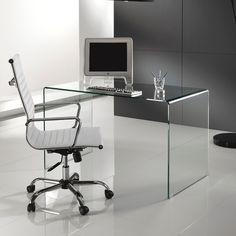 Scrivania+Brennan+in+vetro+curvato+per+ufficio+125+cm