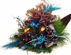 Peacock Blue Brown Centerpiece Floral by cabincovecreations