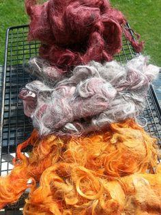 Alpaca Fiber dyed with Kool Aid..