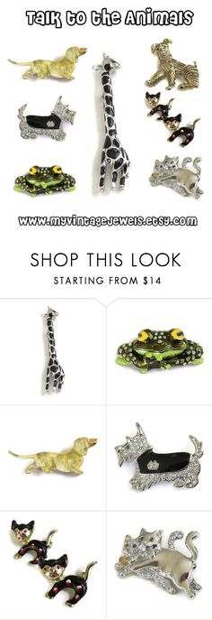 """Talk to the Animals"" by myvintagejewels ❤ liked on Polyvore featuring vintage and jewelry"