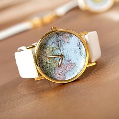 Fashion Leather Band World Map Design Analog Students Casual Quartz Wrist Watch = 1956465476 Cute Watches, Retro Watches, Vintage Watches, Watches For Men, Woman Watches, Analog Watches, Map Watch, Unisex, Fashion Watches