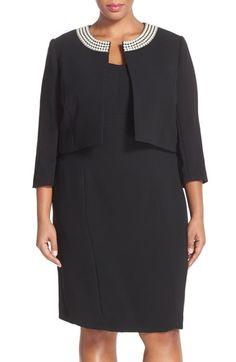 Tahari Embellished Neck Crepe Jacket Dress (PLus Size) available at #Nordstrom