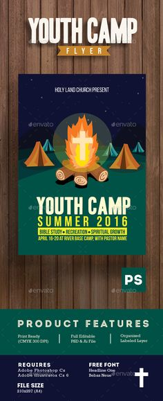 Youth Camp Church Flyer Template More