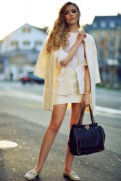 KAYTURE Shoes: Gucci, Top: Paper Denim & Cloth Olive Sweater, Bag: Valentino, Coat: Zara, Sunnies: Céline, Earrings & Bracelet: Shay Accessories, Ring: Gorjana Lena / Elizabeth & James, Skirt: Cameo, Pearl Ring: Vita Fede.