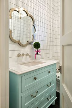 powder bath with aqua blue vanity and shiplap walls| Gordon James Construction | Grace Hill Design: