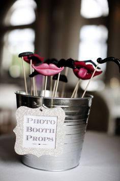 Photo Booth Props - wish I would have thought of this for our wedding photo booth...so fun!