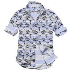 the beach in Hawaii, beach house, men's casual shirt, yarn dyed stripe and printed shirt
