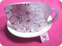 Tea cup card with tea bag inside - tutorial with printable template for our Senior Valentines