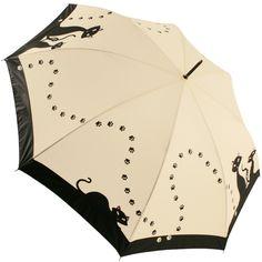 Black Cats Art Print Walking Length Umbrella - Brolliesgalore