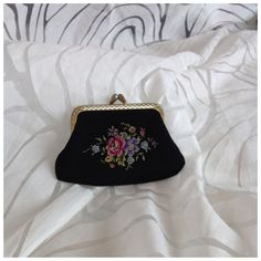 Vintage Small Black Fabric Coin Purse with Gold Tone Butterfly Clasp, Multicoloured Floral Embroidery with by BoBisBitsofVintage on Etsy