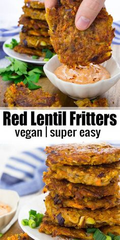 These potato fritters with red lentils are super easy to make and so delicious! … These potato fritters with red lentils are super easy to make and so delicious! They're best with spicy sriracha mayonnaise! Find more vegan recipes and vegan dinner ideas o Vegan Foods, Vegan Snacks, Vegan Dishes, Vegan Appetizers, Food Dishes, Vegan Dinner Recipes, Whole Food Recipes, Cooking Recipes, Healthy Recipes