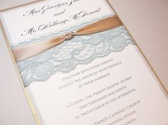 Lace Wrapped Wedding Reception Invitations