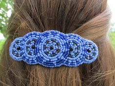 """Shared Treasures Boutique - 4"""" Beaded Barrette / Hair Clip - Blue  - Handmade in Guatemala, $16.00 (http://www.sharedtreasuresboutique.com/4-beaded-barrette-hair-clip-blue-handmade-in-guatemala/)"""