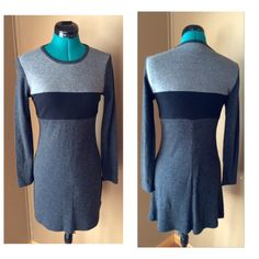 """I ❤️ the 90s Shades of Gray Sweater Dress Vintage Super stylish vintage 90s black and gray blocked sweater dress from LA Belle.  This dress is so soft and lightweight, and used to look awesome on me when I was a skinnier thrifty. Condition: EUC - no rips, stains, odors Material: 100% acrylic Size Small Length: 34"""" Bust: 36"""" Vintage Dresses Midi"""