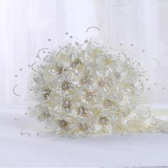 Buy Fashion Silk Crystal Pearl Artificial Bride Hands Holding Rose Flowers Wedding Bridal Bouquet Buque De Noiva at Wish - Shopping Made Fun Broschen Bouquets, Floral Bouquets, Wedding Bouquets, Beige Wedding, Floral Wedding, Wedding Flowers, Rose Flowers, Wedding Favors, Wedding Events