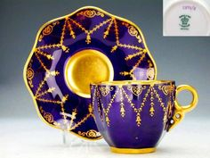Coalport UK Lovely Teacup and Saucer in Cobalt and Gold .1880