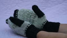 Black gray mittens Handknit convertible by TheWoollyManatee