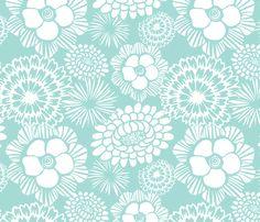 Festibloom Aqua fabric by heatherdutton on Spoonflower - custom fabric