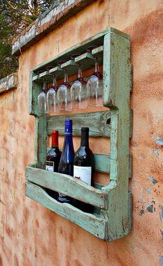Rustic Wood Wine Rack Distressed Turquoise Pallet Wine
