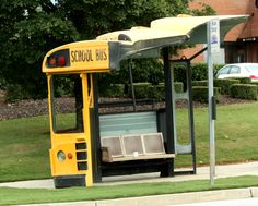 Bus Stop in Athens, GA;  made of recycled bus parts (fronts of 3 buses) - photo from ?