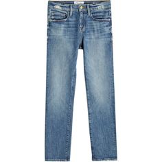 Frame Denim Cropped Straight Jeans (90 KWD) ❤ liked on Polyvore featuring jeans, blue, cropped frayed jeans, slim straight jeans, ripped boyfriend jeans, blue ripped jeans and slim straight leg jeans
