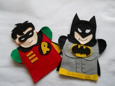 Batman and Robin Puppets These are Hand Puppets Made from felt In this listing you get Batman Robin All my puppets are made from customer Requests You can order them Adult Crafts, Fun Crafts For Kids, Diy For Kids, Gifts For Kids, Felt Puppets, Felt Finger Puppets, Hand Puppets, Puppets For Sale, Puppets For Kids