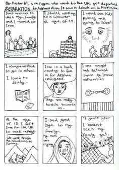 @RefugeeArtProj submitted:   'Separation', a comic by H - a Villawood detainee. #refugees #art4mentalhealth
