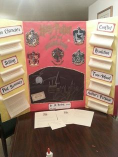 Harry Potter Book Report Reading Fair Harry Potter and the sorcerers Stone Book Report Projects, Reading Projects, Book Projects, School Projects, Project Ideas, Harry Potter Thema, Reading Fair, Potter School, Harry Potter Classroom