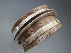 Bronze Bangle Bracelet with 5 Floating Sterling and Copper Bangles - B Nelson Designs Store