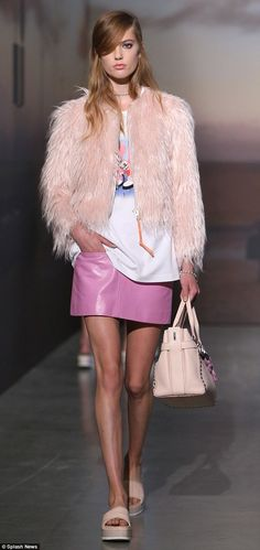 Twiggy would approve! Faux fur coats, leather miniskirts, and flatform shoes were the standouts at Coach's runway show on Thursday