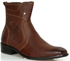 Awesome Men's COWBOY Designer BOOTS Western BROWN Shoes
