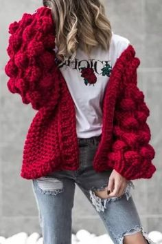 Hot Item-Women's Chunky Knitted Thick Open Front Sweater Cardigan for Cold Winter Street Style-Red Oversized Knit Cardigan, Maxi Cardigan, Cashmere Cardigan, Knit Fashion, Sweater Fashion, Kalter Winter, Textiles Y Moda, Pullover Mode, Hand Knitting
