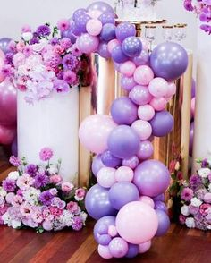 Pink and purple balloon garland