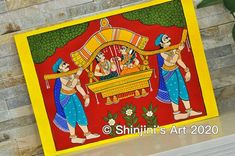 The Palaquin (Indian Folk Art - Cheriyal Painting) Size X Acrylic and Ink Size Art Print - Size Art Print - Original Art Framed - Original Art unframed - An old traditional paintings from the state of Telangana in Southern India. Budha Painting, Phad Painting, Mural Painting, Fabric Painting, Figure Painting, Diy Painting, Ancient Indian Art, Indian Folk Art, Ancient Art