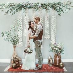 Loving this #macrame backdrop from the pretty #boho wedding editorial we are…