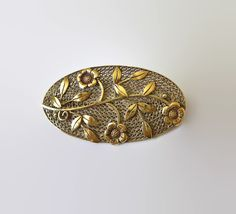 #VogueTeam #vintage Czech Antiqued Brass Floral Filigree Brooch Flowers by baublology