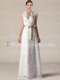 Romantic V Neck A Line Lace Wedding Dress with Sash BC707