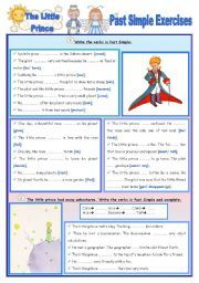English worksheet: Fairy Tales/Stories (1) The Little Prince- Past Simple